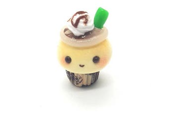 Mocha frappe cupcake charm; kawaii coffee cupcake stitch marker; Polymer clay charms; star charm
