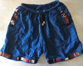 Mens Native blue shorts with nepal accents size M -- 31-33