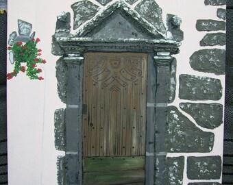 Acrylic painting - wooden door