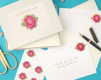 Personalised Flower Notecards Writing Set