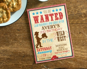 Cowgirl Western Themed Birthday Party Invite, Girls Birthday Invite, Cowgirl Teal, Red Invite, Digital Birthday Invite