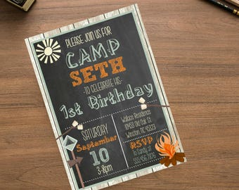 Chalkboard Camping/  Birthday Party Invite, Boys Birthday Invite, Personalized Year Birthday Invite Listing, Campfire Smores Outdoor Wood