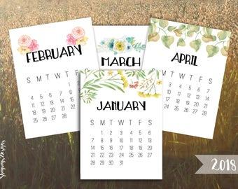 2018 Calendar Printable 3x4 Desk Calendar // Pocket Scrapbooking // Watercolor Calendars For Crafting // Instant Download Planner Printables