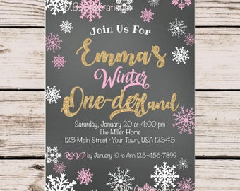 Winter Wonderland Invitation, First Birthday Onederland Invitation, Printable Invitation, Snowflake Birthday Invitation, Digital