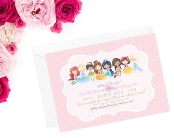 disney princess invitation, birthday invite, princess party, princess invite, princess birthday, birthday invitation