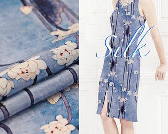 Sky Blue silk crepe buds fabric by the yard - achat crepe de soie au metre