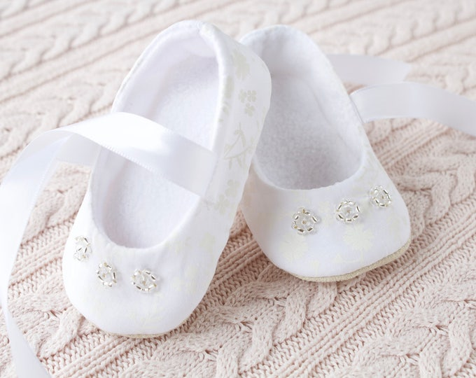 Christening/ Baptism shoes, girls soft sole beaded shoes