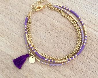 Bracelet Violet multi rangs perles miyuki doré à l'or fin