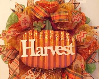 Thanksgiving wreath, fall wreath, Autumn wreath, thanks wreath, burlap wreath, leaves wreath, pumpkin wreath give thanks fall decor