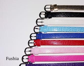 1 x 22cm - Fuchsia leather bracelet
