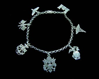 Womens Vintage Estate Sterling Silver Military Armed Forces Charm Bracelet, 7.6g #E2162