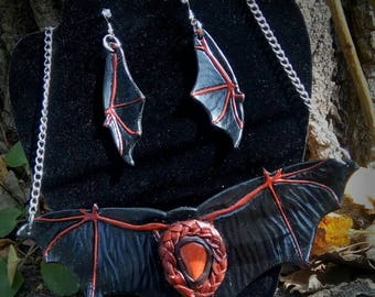 Bat wing necklace and earring set