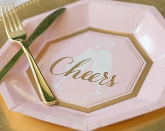 Cheers Gold foil and Pink Dinner plates  / bridal shower / Wedding