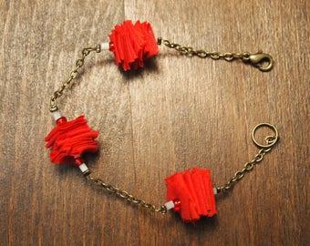 Red and bronze bracelet unique!