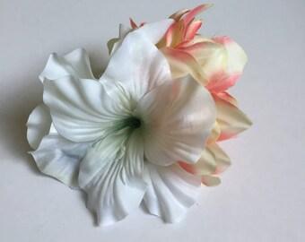 The Priscilla - White, Peach & Orange spring pin up hair flower