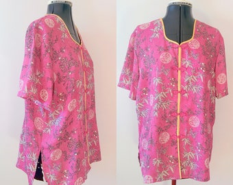Vintage Silky blouse / Oriental Silk Blouse / Chinese blouse / Size M - L / cheongsam top