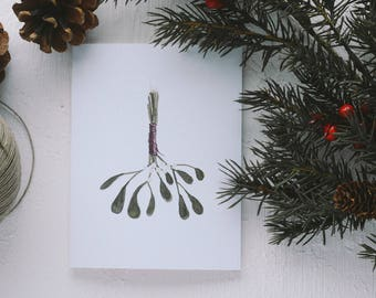 Holiday Greeting Card - Mistletoe Christmas Card, Merry Christmas, Christmas Card, Happy Everything, Joy to All, Merry Everything