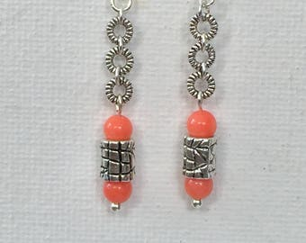 Pink Coral and Tibetan silver chain Earrings