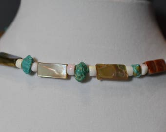 Turquoise and mother of pearl choker