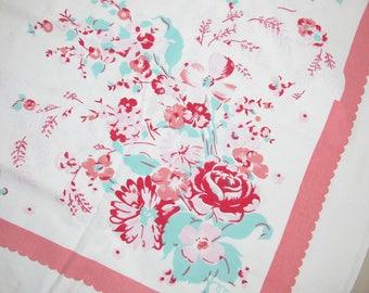 Vintage Floral Cotton Tablecloth