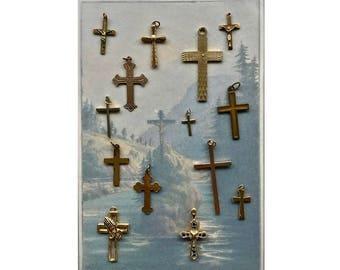Vintage Crosses, Lot of Crucifix, Gold Crosses, Gold Tone Pendant, Vintage Religious, Cross Collection, Assorted Crosses, Vintage Crucifixes