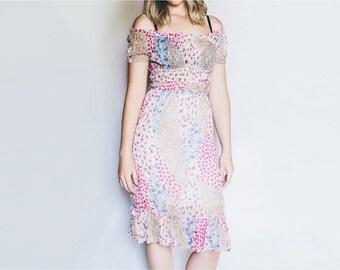 Vintage Boho Dress, Floral Dress, Boho Off Shoulder Dress, Floral Vintage Dress, Peasant Dress, Gypsy Festival Dress, Hippie Flower Print