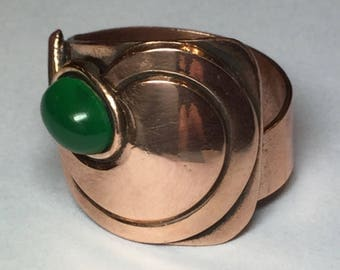 Vintage 1960's Green Stone Copper Adjustable Ring West Germany Size 7.5-9 Statement Ring