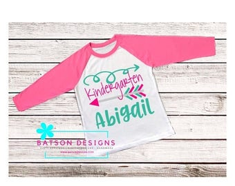 ON SALE Girls Personalized Name Kindergarten Shirt | Pink Sleeves Baseball Shirt | Back to School Grade K Top Monogram