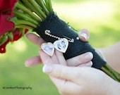 Wedding Bouquet Memory Photo Locket Pin Boutonniere Photo Charm  Memorial Photo Frame Heart Locket Bride Keepsake