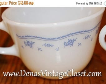 Summer Clearance Sale Vintage Pyrex Morning Blue Coffee Cups Lot of 4