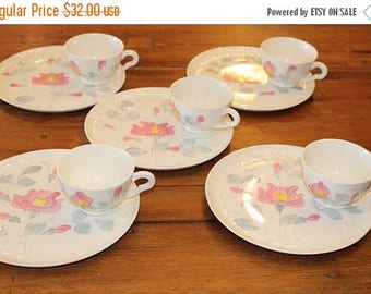 30% OFF Sale Blue Ridge Cordele Snack Set Pink and Gray Hand Painted China Plate and Cup