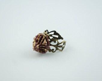"Filigree Adjustable ring ""Sonobe Rose"", origami paper"