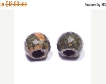 70% OFF Natural Unakite Jasper Handmade Faceted Round Loose Beads Pair-8x11mm With 5mm Hole-Free Shipping