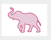 Elephant Embroidery Design File -motif fill with satin edge- multiple formats - one or two color design -4 sizes - instant download