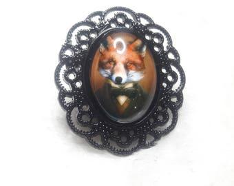 The Fox Black oval brooch