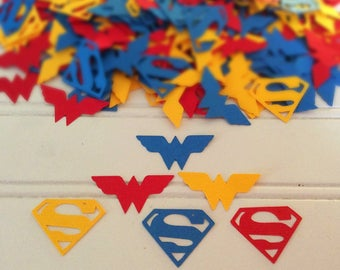 Wonder Woman and Superman Confetti - Superhero confetti - table decorations - Confetti  -  Wonder Woman confetti  - Superman confetti