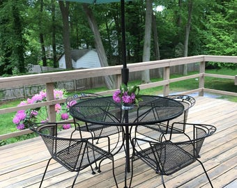 mid century black patio set woodard outdoor furniture garden deck