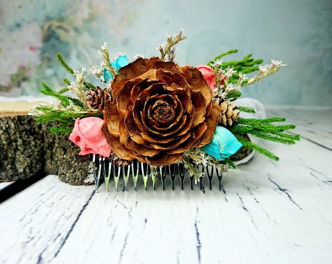 Woodland wedding HAIR COMB in green, brown, turquoise and coral reef