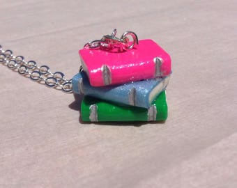 Book Stack Necklace - Pink, Blue, Green