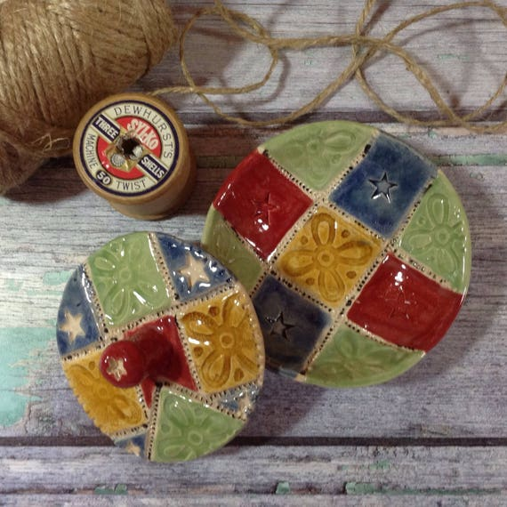 Handmade lidded tiny Patchwork Dish, Trinket Dish, small lidded dish