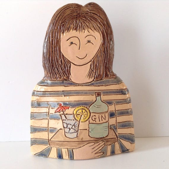 ON PRE-ORDER Lady with Gin. Handmade ceramic bust, mini-bust, Colourful People, collectible, one of a kind.