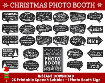 PRINTABLE Christmas Photo Booth Props–Christmas Props-Christmas Photo Props-Christmas Speech Bubbles-Christmas Signs–Instant Download-X9