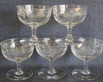 Set of 5 Vintage Cut Crystal Short Sherbet or Champagne Glasses, Crystal Sherbet Glasses, Crystal Champagne
