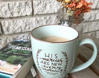 Mercies New Ceramic Mug * Christian Catholic Gifts * Drinkware * Handlettered Design * Gifts for Her * Coffee Mug