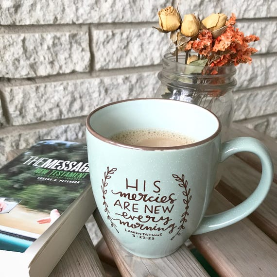 Mercies New Ceramic Mug * Christian Catholic Gifts * Drinkware * Handlettered Design * Gifts for Her * Coffee Mug