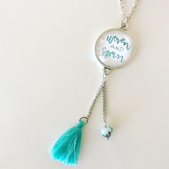 Catholic Jewelry * Catholic Pendant Necklace * Pendant Necklace * Tassel Necklace * Handlettered Pendant Necklace * Gifts for Her