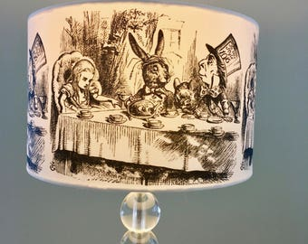 Alice in wonderland lamp shade. Alice in wonderland mad hatter party lamp shade. Mad hatter tea party lamp shade