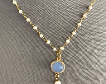 Blue chalcedony and pearl pendant