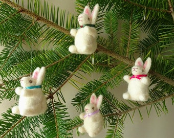 Woodland Inspired Christmas Tree Ornaments | 4 Bunny Rabbits Christmas Decorations Handmade | Needle Felted Christmas Nursery Forest Decor