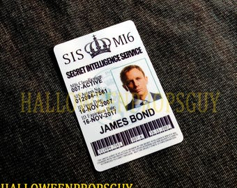 """007 James Bond Style Pvc Id Card Badge  - James Bond or """"M""""  - Made In USA"""